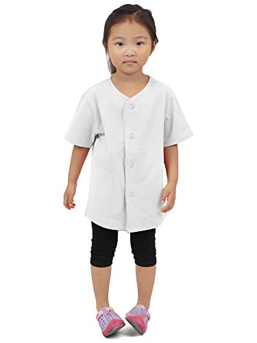 Hat and Beyond Kids Baseball Button Down Jersey Uniform Plain (Small, 5KSA02_White)