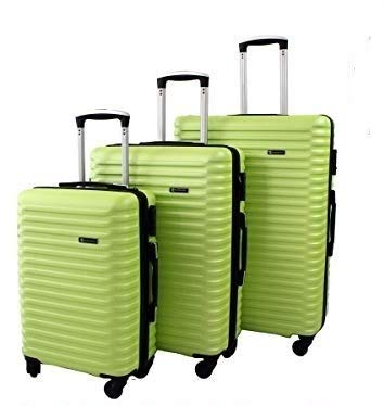 SET 3 VALIGIE/TROLLEY RIGIDE 1811 CON 4 RUOTE GIREVOLI (fluorescent yellow)