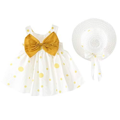 K-youth Ropa Bebe Niña de 0 a 24 Meses, Casual Lindo Vestido de Niña Imprimiendo Arco Sin Mangas Ropa Bebé Recién Nacido Verano Vestidos de Princesa Niña Playa + Sombrero (Amarillo, 6-12 Meses)