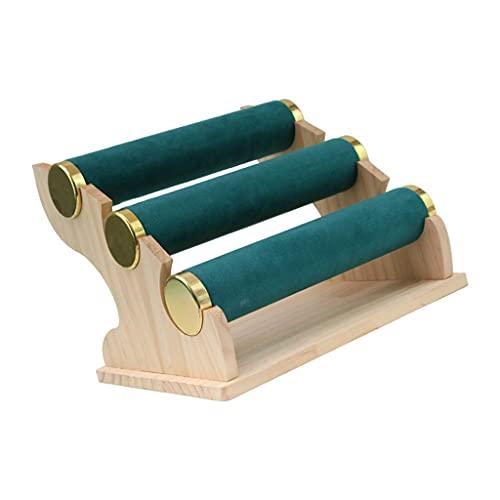 SM SunniMix Terciopelo 3 Niveles Soporte de Joyería Exhibición de Almacenamiento Estante de La Tienda - Collar Extraíble Pulsera Brazalete Colgantes Organizador D - Verde