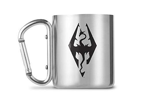 empireposter Skyrim - Dragon Symbol - Edelstahl Tasse Karabinergriff - Carabiner Mug - 230 ml