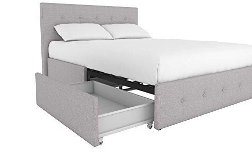 DHP Rose Linen Tufted Upholstered Platform Bed with Storage - Gray Linen - Full