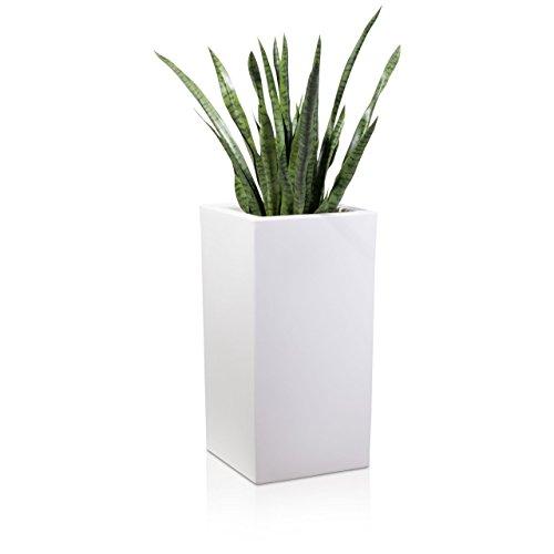 Fioriera TORRE 80 di plastica, 40x40x80 cm, bianco opaco