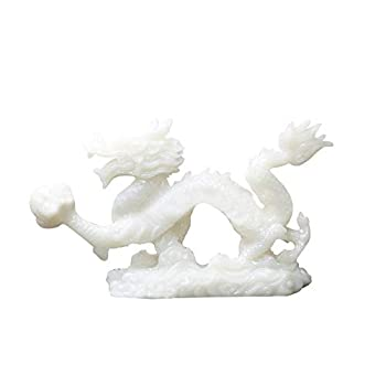 HEFUTE Chinese Zodiac Dragon Shape Resin Sculpture Furniture Decoration a Symbol of Good Luck Success Auspiciousness Health and Longevity White Size 2