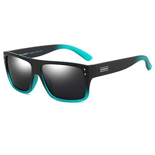 DUBERY Unisex Wide Frame Polarized Sunglasses UV Protection Retro Rectangular Sun Glasses D912
