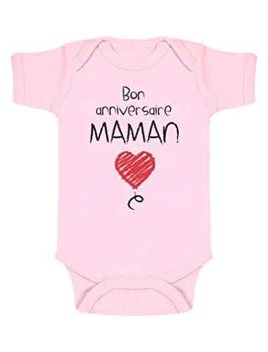 Green Turtle Cadeau pour Maman - Bon Anniversaire Body Bébé Manche Courte 0-3 Mois Rose