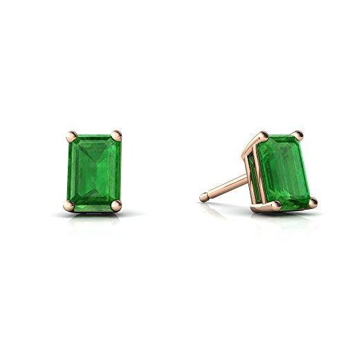 14kt Rose Gold Emerald 6x4mm Emerald_Cut Emerald-Cut Stud Earrings