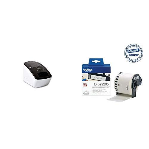 Brother Original QL700 Etikettendrucker + DK-22205 Endlosetiketten (Papier, 62 mm breit, 30,48 m lang, für Brother QL-Etikettendrucker)
