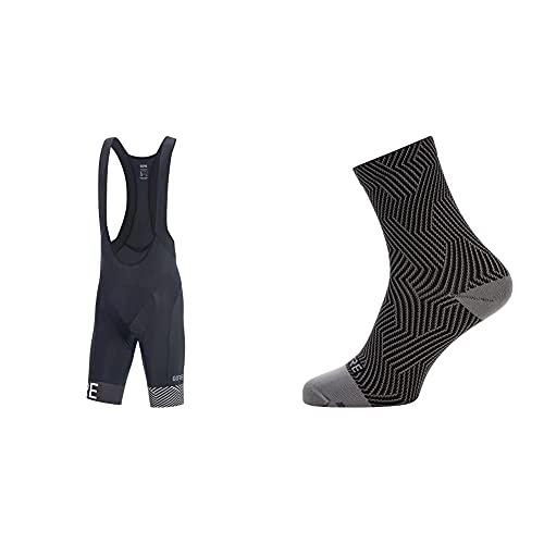 GORE WEAR C5 OPTI Pantalón Corto Tirantes+ + C3 Calcetines para Ciclismo Unisex, Talla: 44-46, Color: Gris/Negro