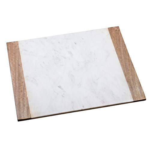 Creative Home Natural White Marble with Mango Wood 16' x 20' Pastry Board, Serving Plate