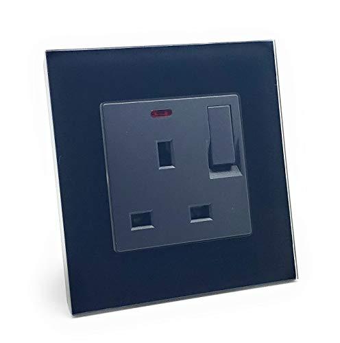 illucio Black Designer - Enchufe eléctrico con interruptor de 1 banda con neón