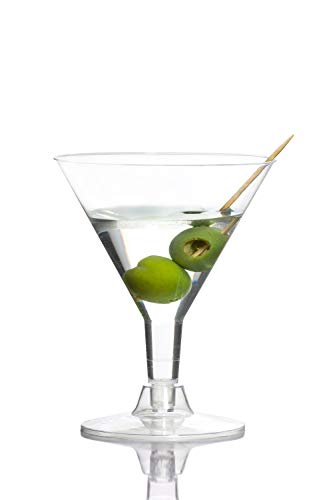 Exquisite Crystal Clear Plastic Martini Glasses, Plastic Dessert/Cocktail Cups Great For Appetizers, Desserts, Mousse ~ 5 oz ~ Disposable (60)
