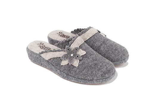 3Rose Ciabatte/Pantofole Donna Invernali Stella Alpina Caldo Feltro comode da casa, Art. 161 (Grigio, Numeric_40)