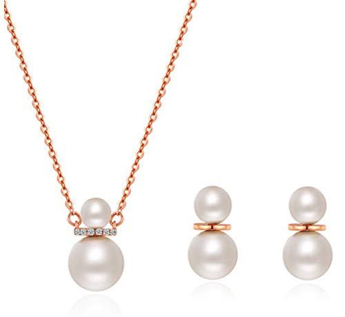 XIRENZHANG Señoras de Oro de 18 Quilates Collar de Perlas con el Oro 18k Colgantes (Agua Dulce Perlas cultivadas), 18k muñeco de Nieve Pendientes de Perla de Oro, Regalos para la Madre, espos Kit