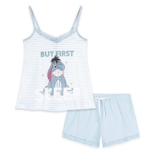 Disney Schlafanzug Damen Kurz, Pyjama Damen Kurz, Eeyore Shorty Damen Nachtwäsche (Hellblau, L)