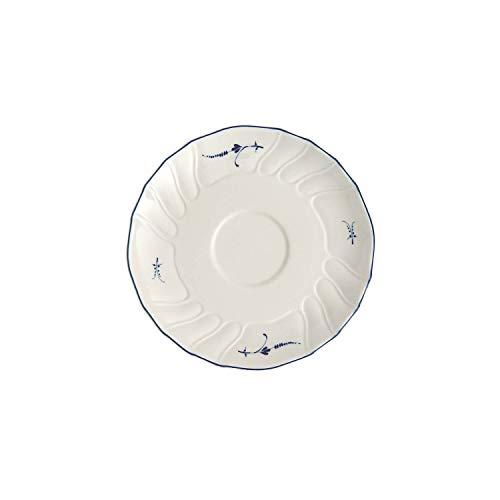Villeroy und Boch Vieux Luxembourg Untertasse, 14 cm, Premium Porzellan, Weiß/Blau