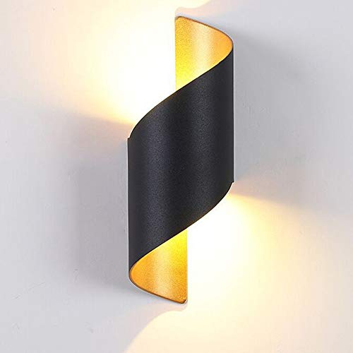 LED Wall Lights Black, Modern Up & Down Lighting 10W Wall Lamp Indoor/Outdoor IP65 Waterproof, Warm...