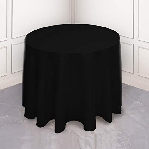 Kadut Black Tablecloth - 108' Inch Round Tablecloths for Circular Table Cover in Black Washable Polyester - Great for Buffet Table, Parties, Holiday Dinner & More