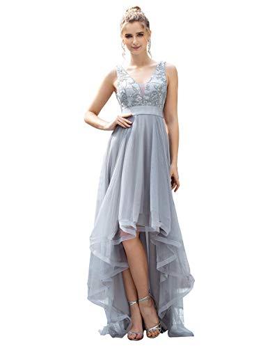 Ever-Pretty Asimétrico Vestido de Fiesta Largo Mujer Tul Lentejuelas High-Low Escote V A-línea Imperio Gris 40