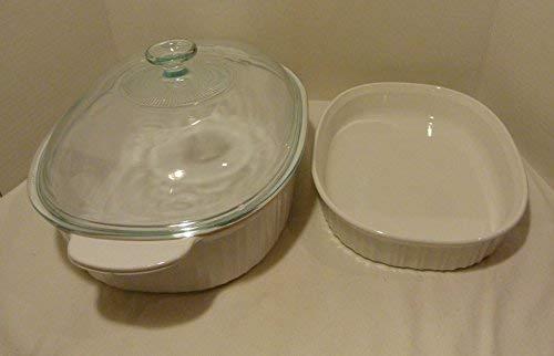 Corningware Vintage French White 3 Piece Casserole Set : 4 QT With New Glass Lid & 1 1/2 QT