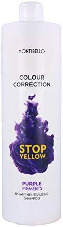 Montibello Colour Correction Stop Champú 300 ml (Neutralizador+Pigmento Lila), Yellow Purple, 300ML, 300