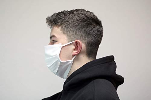 Masken Behelfsmaske Mund Nase Maske waschbar hygienisch doppellagig - weiß - genäht