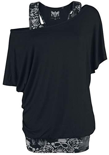 Black Premium by EMP When The Heart Rules The Mind Frauen T-Shirt schwarz/grau XXL