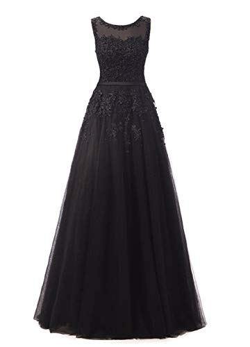 Romantic-Fashion Damen Ballkleid Abendkleid Brautkleid Lang Modell E010-E015 Blütenapplikationen Tüll DE Schwarz Größe 36