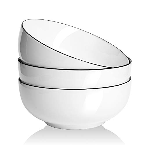 AnBnCn Salad Soup 3-Pack-60 Oz Super Large Stackable Round White Fine Porcelain Cereal Pasta Bowl-Sets