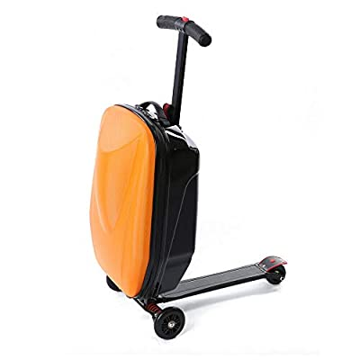 OUKANING Trolley with Built-In Kickboard 20 Inch Suitcase Scooter Trolley Hand Luggage Rolling Case Roller