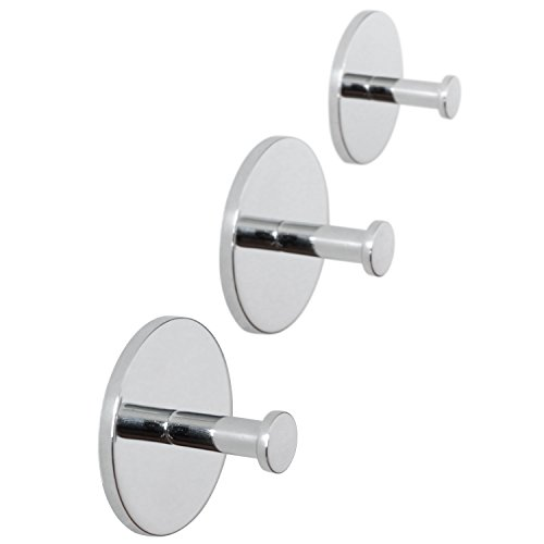 ToiletTree Products 3 Rust Proof Shower, Bedroom, Kitchen, Dorm and Bath Wall Hooks with Waterproof Tape Installation
