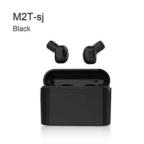 BSDK Auriculares inalámbricos, audífonos biauriculares con Bluetooth 5.0 y Mini Auriculares Invisibles, con una función de Doble Carga en el contenedor de Carga de 1200Ham,Black