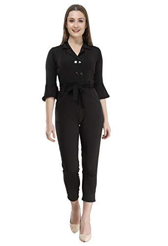CUPIDVIBE Women's Georgette Solid Jumpsuit Black