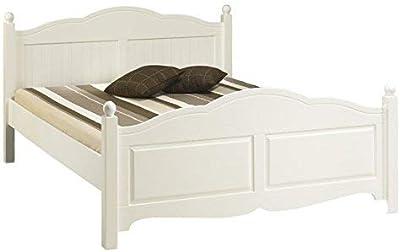 ACTUAL DIFFUSION Windsor Lit Blanc 2 Places 160 x 200 avec Sommier, pin, 208x169x100 cm