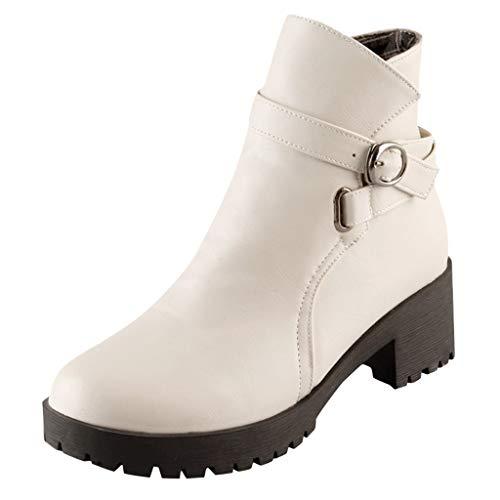 ZHANSANFM Kurz Stiefel Damen Runde Zehen Lederstiefel mit Blockabsatz Frauen Plateau Ankle Boots Reißverschluss Schnalle Elegant Stiefeletten Retro Chelsea Loafers Herbst Winter (36 EU, Beige)