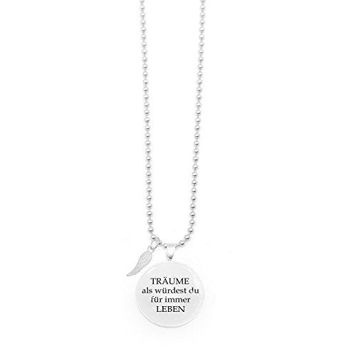 Spruchketten BY LIEBLICHKEITEN Nickelfreie Kette 80 cm mit Anhänger Spruch in 2,5cm großer Glaslinse: Träume als würdest Du für Immer Leben
