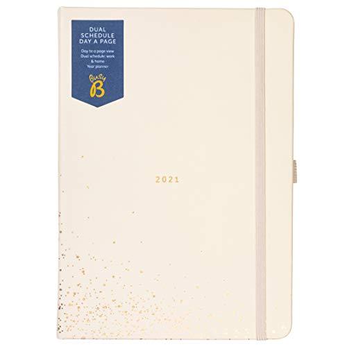 Busy B 2243 - Agenda giornalera con doppio orario da gennaio a dicembre 2021 - Pianificatore A5 Crema/Oro con pagine allineate, note e pianificatore annuale - 15 x 21 cm