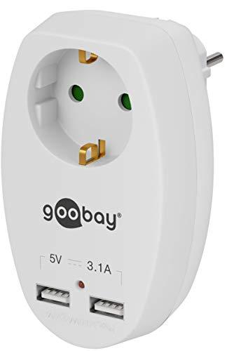 Goobay 40885 stopcontact plus 2x USB-aansluiting 3,1 A geaard contact met kinderbeveiliging