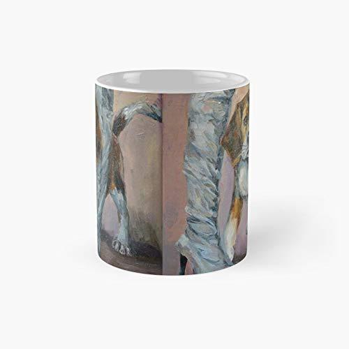 Beagle en grijze laarzen stijlvolle afbeelding creatieve klassieke mok | Beste cadeau grappige koffie mokken 12 oz