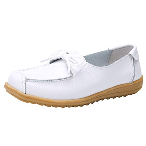Zegeey Damen Flache Schuhe SchnüRer Sandaletten Arbeitsschuhe Krankenschwester Schuhe Freizeitschuhe(Weiß,40 EU)
