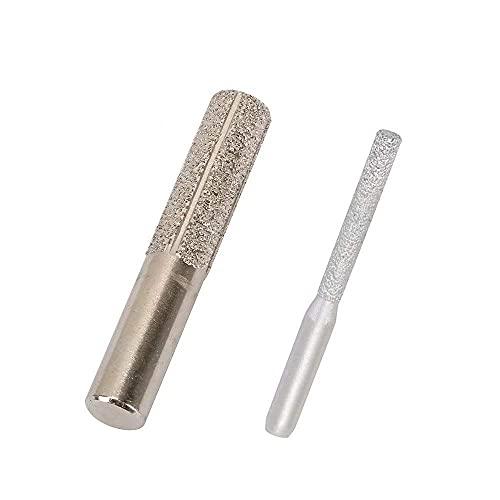 WLJBD 2 piezas de vástago de 1/4 '1/2' de oro recto diamante soldado al vacío router broca para mármol y granito borde perfilado/corte rotatorio herramienta //326 (color: plata)