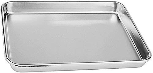 Pan horneado de la torta de la torta de acero inoxidable, tostadora compacta bandeja de la bandeja de horno profesional, borde profundo, acabado superior del espejo, (31.5 x 24.5 x2.5cm),Silver