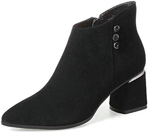 HOESCZS 2019 Mode Femmes Cheville Bottes Zipper Tout Match Talon Carré Noir Bout Pointu Bottes d'hiver Femmes Chaussures Bottes Taille 34-42