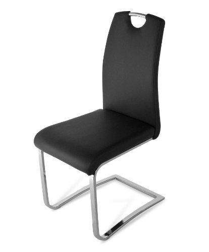 SAM Polster-Stuhl, Freischwinger in schwarz, komplett mit Stoff bezogen, chromfarbene...