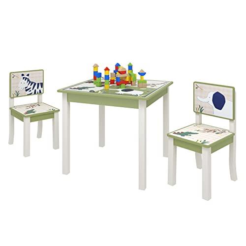 Lestarain Juego de Mesa y 2 Sillas para Niños, Conjunto Muebles Infantiles de Madera Mesa de Actividades Multiuosos para el Cuarto de Niños, Tema Zoológico, Verde y Blanco