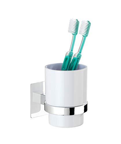 WENKO Turbo-Loc Quadro Zahnputzbecher-/ Zahnbürstenhalter (für Zahnbürste und Zahnpasta, Befestigen ohne bohren) 7 x 10 x 9.5 cm, Chrom