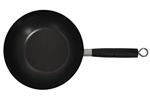 "IMUSA USA 9.5"" Traditional Carbon Steel Nonstick Coated Wok with Bakelite Handle"