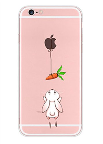 Caler Hülle Kompatibel/Ersatz für iPhone 6S/6 Hülle Weiche Flexible Silikon-Handy-Hülle Transparente Ultra Slim TPU dünne stoßfeste mit Motiv Tasche Etui Schutzhülle Case Cover(Kaninchen Karotte)
