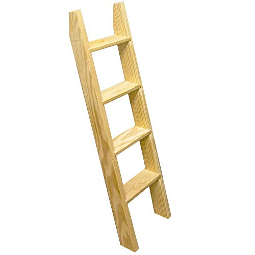 Pine Wood Ladder, Library Ladder, Unassembled - TFK-LDR-MD9-6, 7, 8 Foot x 16