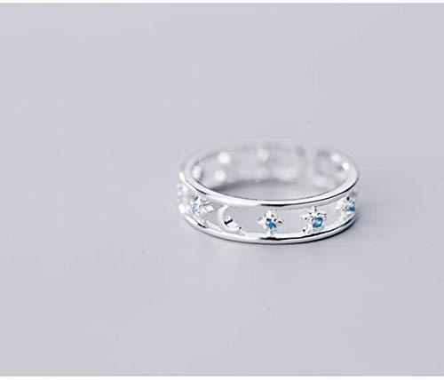 WOZUIMEI S925 Anillo de Plata Femenino Coreano Simple Moda Diamante Estrella Y Luna Anillo Temperamento Joyería de Doble Dedoplata, ajustable